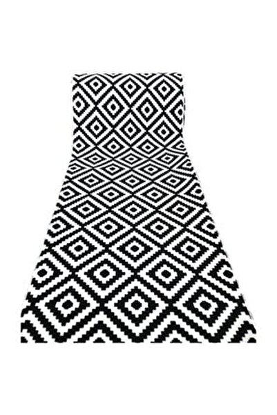 Halı Siyah Beyaz Piramit Desen Kaydırmaz Taban Halı Yolluk
