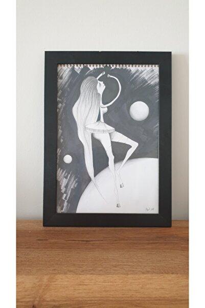 ART MODE Tek Başına / Illüstrasyon Karakalem Karışık Teknik Sürrealist Resim (25x35 Cm)