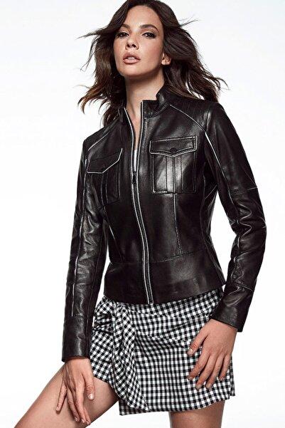 Derimod Kadın Siyah Molly Deri Ceket