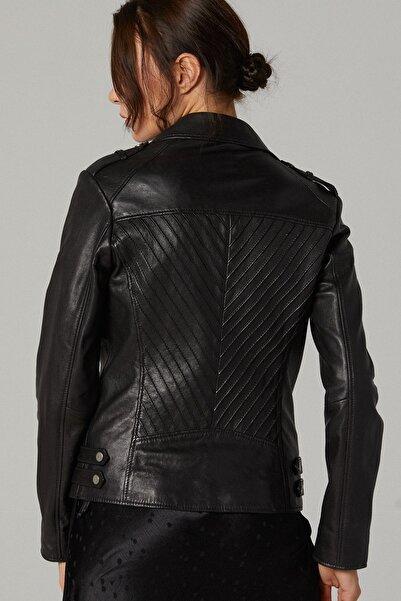 Derimod Kadın Siyah Sheila Deri Ceket