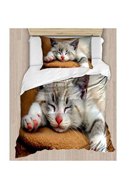 Else Halı Else Sevimli Kedili 3d Desenli Tek Kişilik Nevresim Takımı