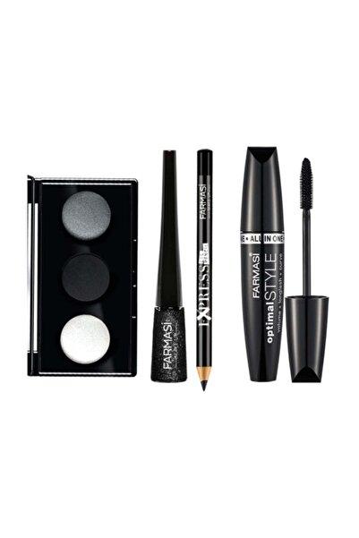 Farmasi Makyaj Seti (3 Lü Göz Farı Paleti + Göz Kalemi Siyah +simli Eyeliner + Optimal Maskara)