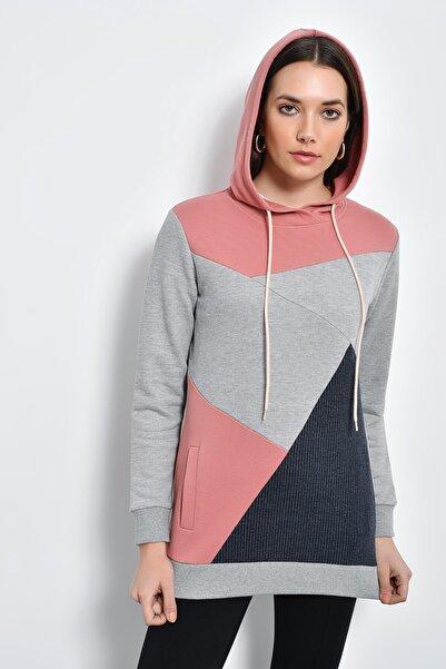 Hanna's by Hanna Darsa Kadın Gri Kapüşonlu Asimetrik Detaylı Sweatshirt HN2204