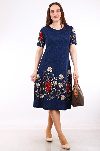 Alesia Kadın Lacivert Çiçek Desenli Kısa Kol Krep Elbise MHMT2020-410