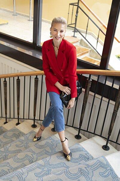 TRENDYOLMİLLA Kırmızı Düğme Detaylı Oversize Blazer Ceket TWOSS20CE0024