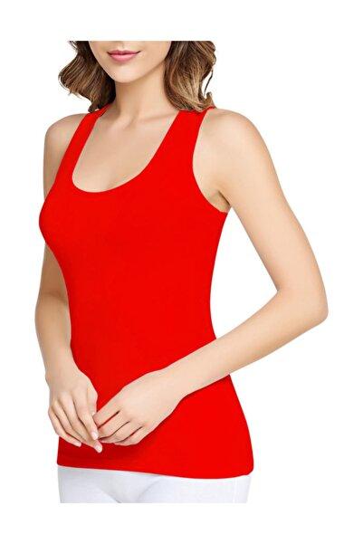Tutku Kadın 3'lü Paket Kırmızı Geniş Askılı Atlet %100 Pamuk -  0136