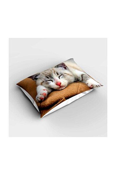 Else Halı Uyuyan Kedili 3d Desenli Yatak Odası Yastık Kılıfı 50x70cm