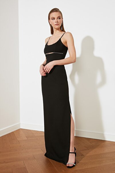 TRENDYOLMİLLA Siyah Işıltılı Aksesuar Detaylı Abiye & Mezuniyet Elbisesi TPRSS21AE0058