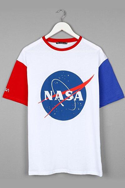 Sekizbiraltı Nasa Baskılı Beyaz Oversize Unisex Tshirt