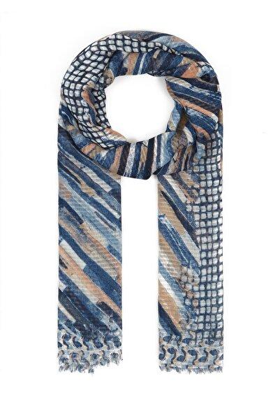 Mavi Kadın Kareli Lacivert Şal 197186-28417