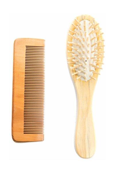 Ağaç Ustası Ahşap Tahta Saç Fırçası Ve Ahşap Ince Dişli Tarak Seti%100 Doğal Tamamen Doğal Ve Orjinal Ürün