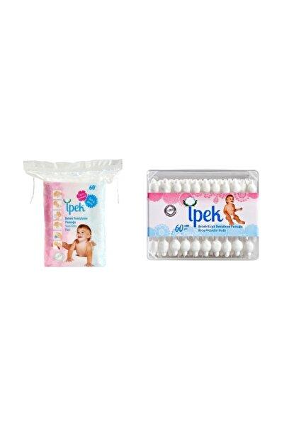 İpek Bebek Temizleme Pamuğu 60 Lı +  Bebek Kulak Çöp 60 Lı