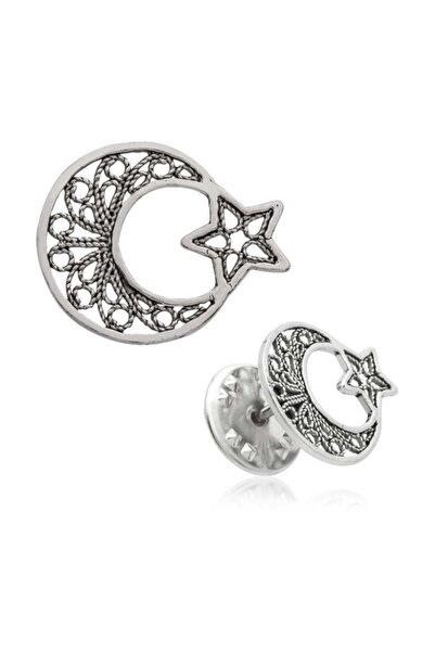 Gumush Gümüş Telkari Ay Yıldız Rozet