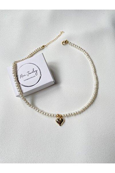 ms merijewelry Beyaz Incili Kalp Kolye