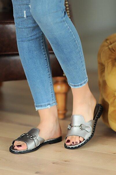 Pembe Potin Platin Kadın Sandalet A100-20