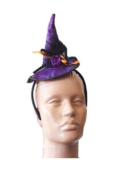 Pandoli Mor Renk Cadı Şapkası Şeklinde Tüylü Halloween Tacı