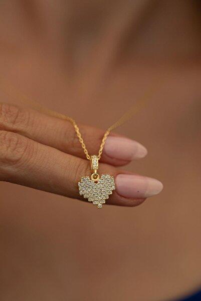 İzla Design Kalp Model Altın Kaplama Gümüş Italyan Kolye