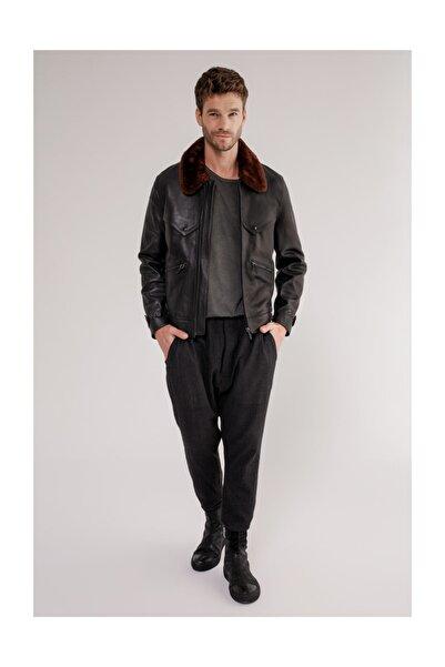 Vespucci by VSP Erkek Siyah Deri Ceket