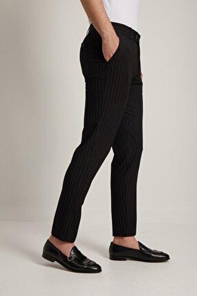 Erkek Siyah Çizgi Desen Klasik Pantolon