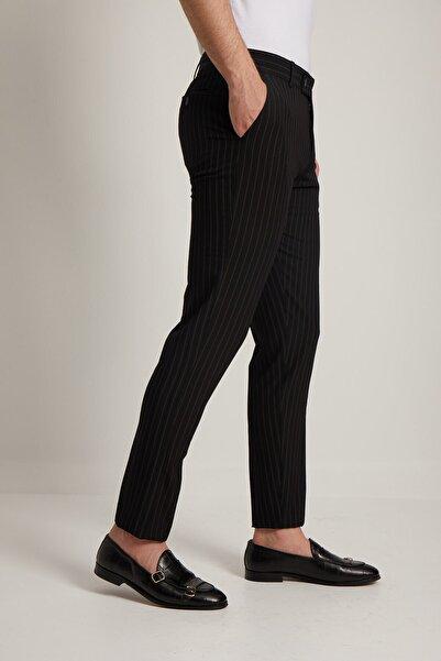 Fc Plus Erkek Siyah Çizgi Desen Klasik Pantolon