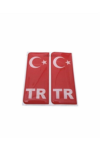 DMR Türk Bayrağı Plaka Damla Sticker Su Geçirmez Solmaz 2 Adet