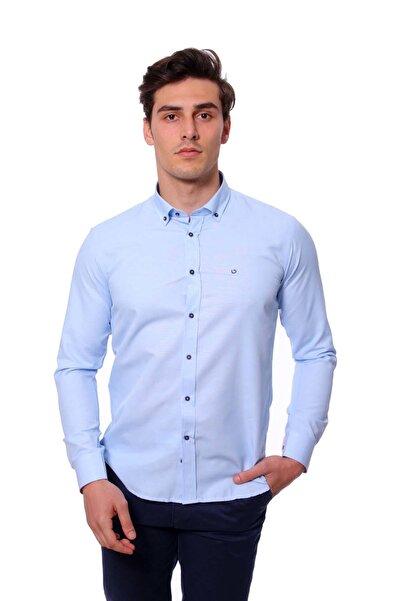 Diandor Uzun Kollu Slim Fit Erkek Gömlek A.Mavi/L.Blue 1812020
