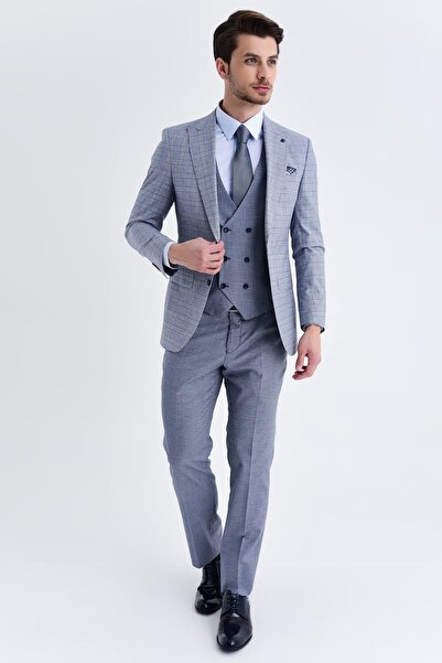 Hatemoğlu Yelekli Slim Fit Lacivert Takım Elbise 33202018C192