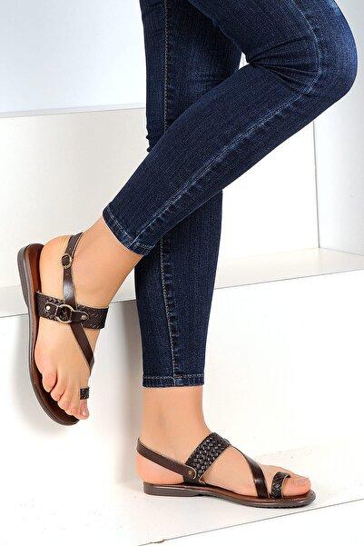 Pembe Potin Hakiki Deri Kahve Kadın Sandalet A1107-19