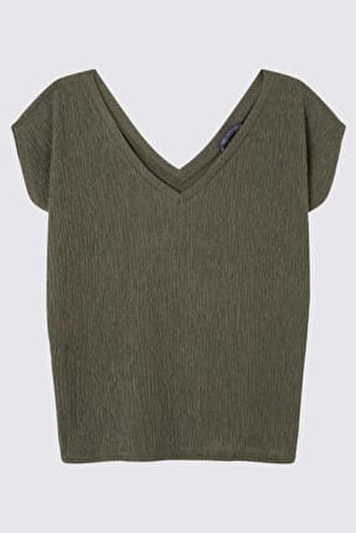 Kadın Yeşil Kısa Kollu V Yaka Bluz T41007670H