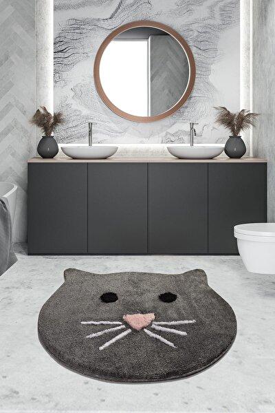 Chilai Home Cat Füme 90x90 Cm Banyo Halısı Yıkanabilir, Kaymaz Taban