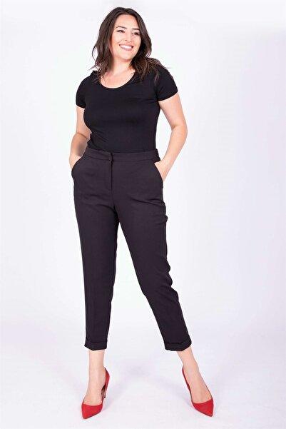 MYLİNE Kadın Siyah Kemerli Yandan Lastikli Klasik Pantolon 34689