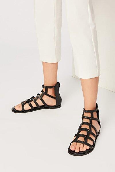 İnci Hakiki Deri Siyah Kadın Sandalet 120120520010
