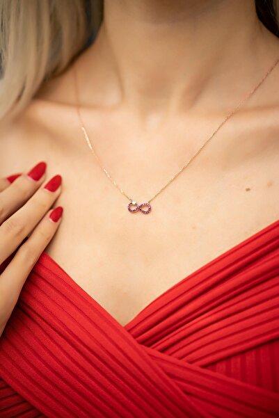 İzla Design Kadın Kalpli Sonsuzluk Model Yakut Taşlı Rose Kaplama Gümüş Kolye İZLASLVR00456