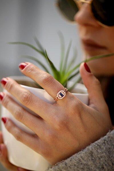 İzla Design Kadın Safir Taşlı Zincir Model Rose Gümüş Yüzük İZLASLVR00048