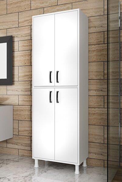 Rani Mobilya F1 Çok Amaçlı Dolap 4 Kapaklı 6 Raflı Banyo Balkon Mutfak Dolabı Beyaz M4