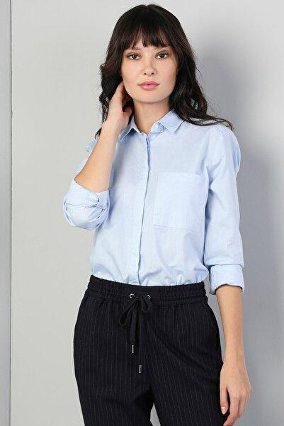 Colin's KADIN Regular Fit Shirt Neck Kadın Mavi Uzun Kol Gömlek CL1045102