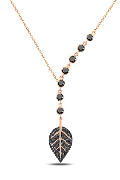 Rams Gümüş Kadın Tohum Taşlı Siyah Yaprak Kolye Ürün Kodu