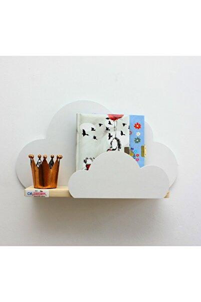 Ceebebek Beyaz Ahşap Bulut Raf Kitaplık Bebek Çocuk Odası Montessori Duvar Rafı