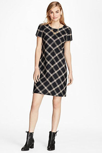 BROOKS BROTHERS Kadın Lacivert Geomentrik Desenli Yün Elbise