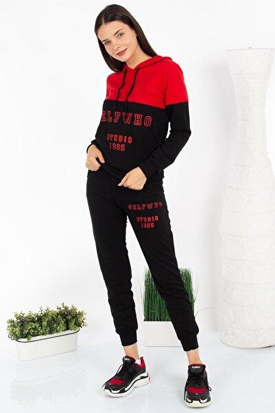 HDS Hadise Kadın Kırmızı/Siyah Selfwho Baskılı Kapüşonlu Takım D2957