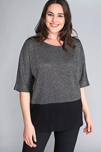 Moda Cazibe Kadın Gümüş Yarım Kol Simli Altı Siyah Bluz M9320