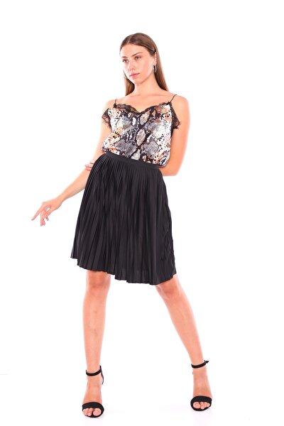 Kokopatik Kadın Siyah Siyah Piliseli Etek PRA-469401-257406