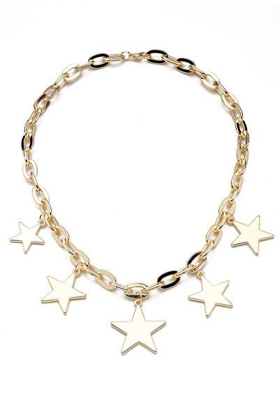 Modex Kalın Zincirli Altın Sarısı Yıldızlar Kolye