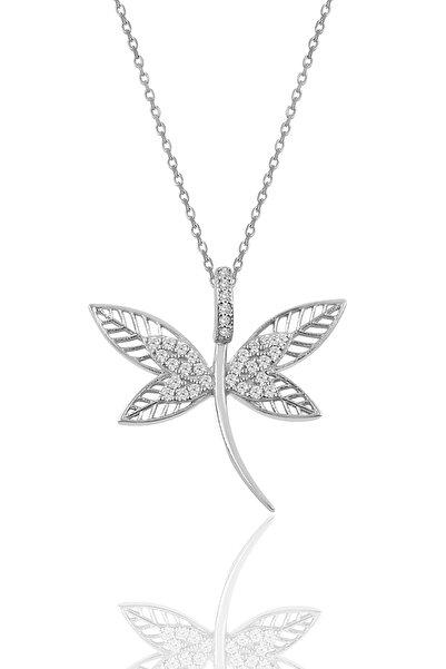 Söğütlü Silver Kadın Gümüş Pırlanta Modeli Yusufçuk Kolye SGTL9895