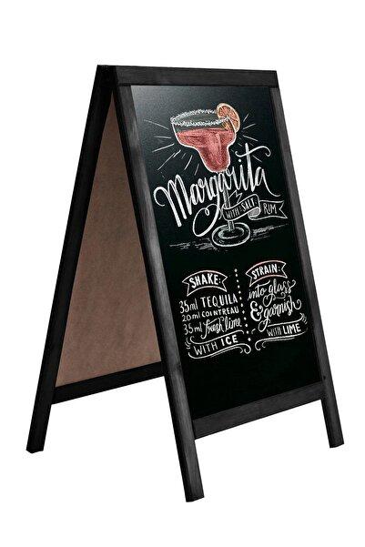 Zep Home Menü Yazı Tahtası Çift Taraflı Dekoratif Kara Tahta 60cm X 110cm Siyah