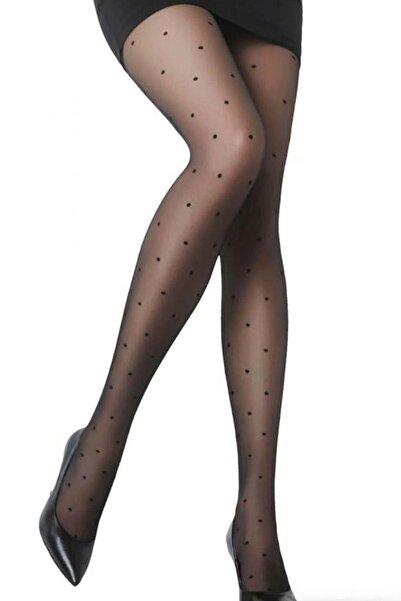 EMINNA Kadın Siyah Külotlu Nokta Puantiyeli Çorap