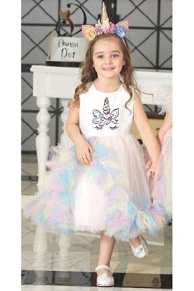 ChatonDor 1-5 Yaş Kız Çocuk Unicorn Abiye Elbise