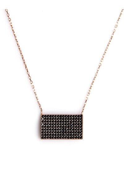 Sahra Siyah Zirkon Süslemeli Tasarım 925 Ayar Gümüş Kolye KLY-0066-35
