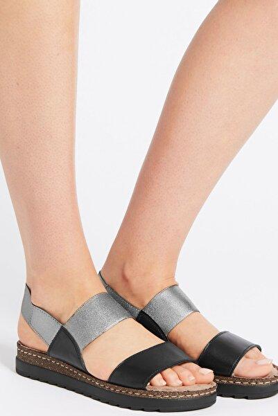 Marks & Spencer Kadın Siyah Elastik Deri Açık Ayakkabı T02004424