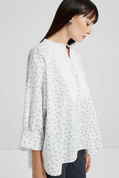 Yargıcı Kadın Beyaz Desenli Yarasa Kol Gömlek 9KKGM6103X